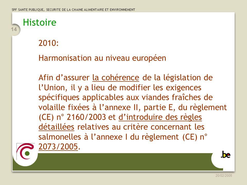 Histoire 2010: Harmonisation au niveau européen