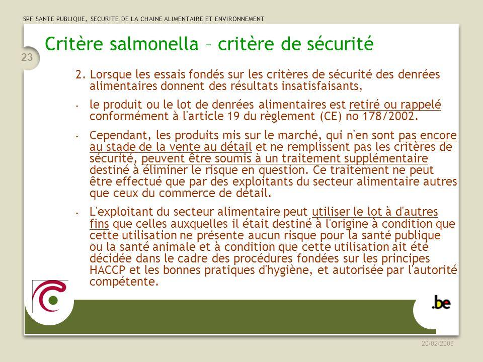 Critère salmonella – critère de sécurité