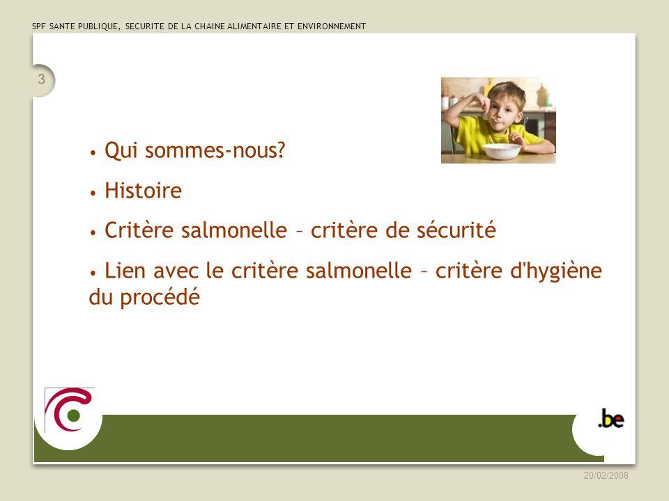 Critère salmonelle – critère de sécurité
