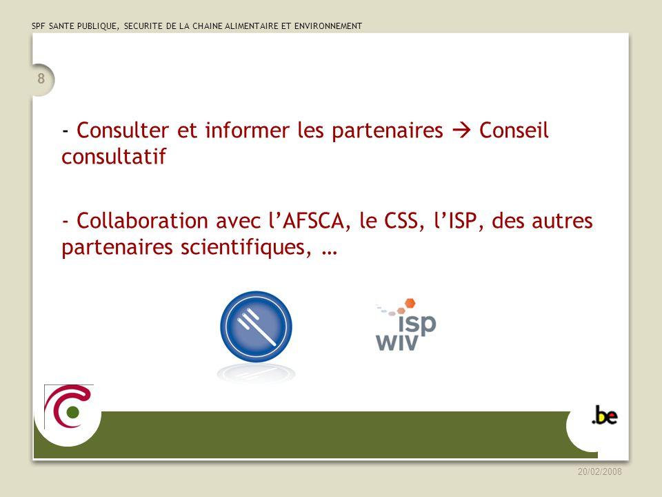 Consulter et informer les partenaires  Conseil consultatif