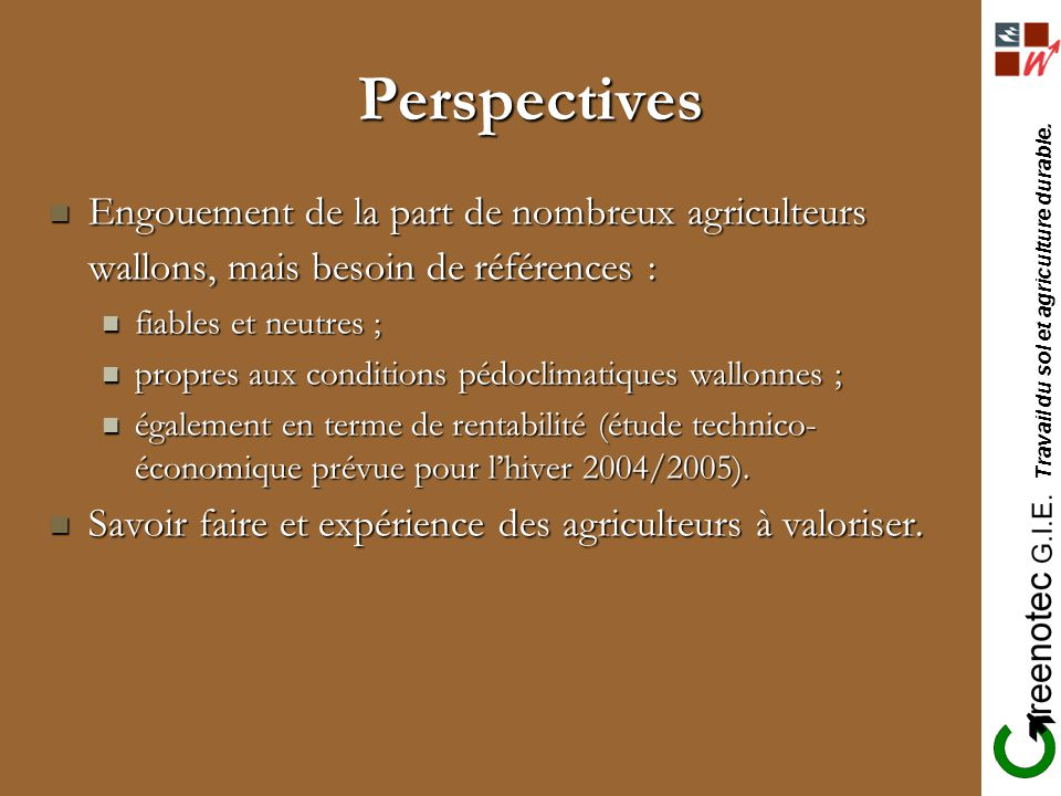 Perspectives Engouement de la part de nombreux agriculteurs wallons, mais besoin de références : fiables et neutres ;