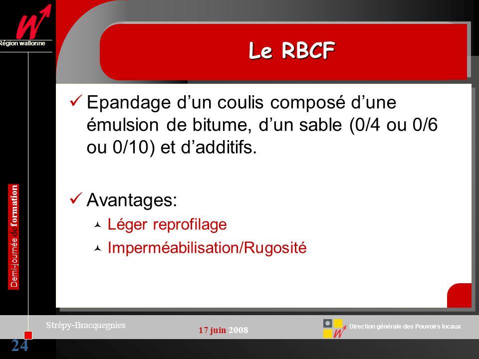 Le RBCF Région wallonne. Epandage d'un coulis composé d'une émulsion de bitume, d'un sable (0/4 ou 0/6 ou 0/10) et d'additifs.