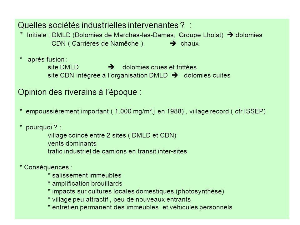 Quelles sociétés industrielles intervenantes :