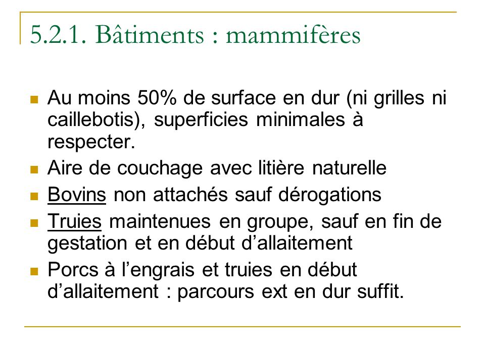 5.2.1. Bâtiments : mammifères