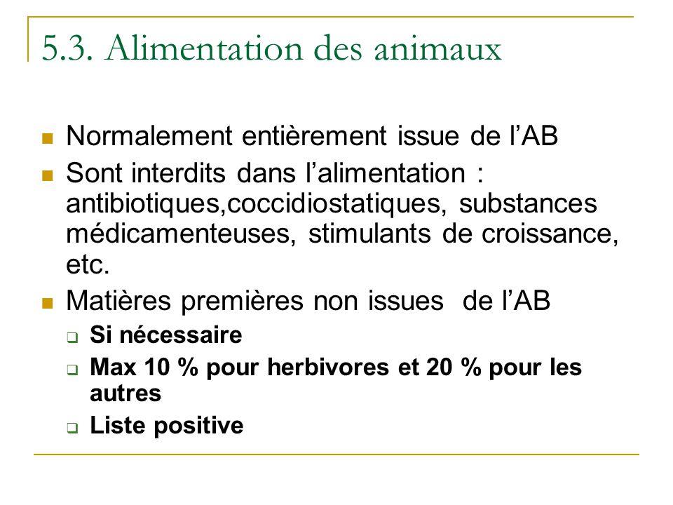 5.3. Alimentation des animaux