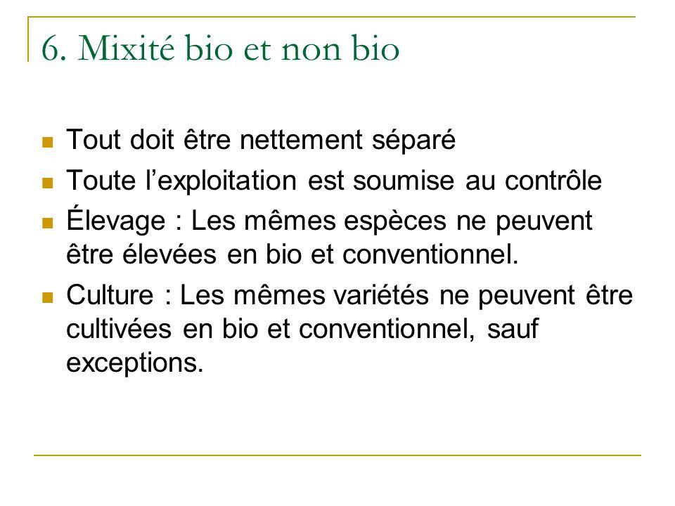 6. Mixité bio et non bio Tout doit être nettement séparé