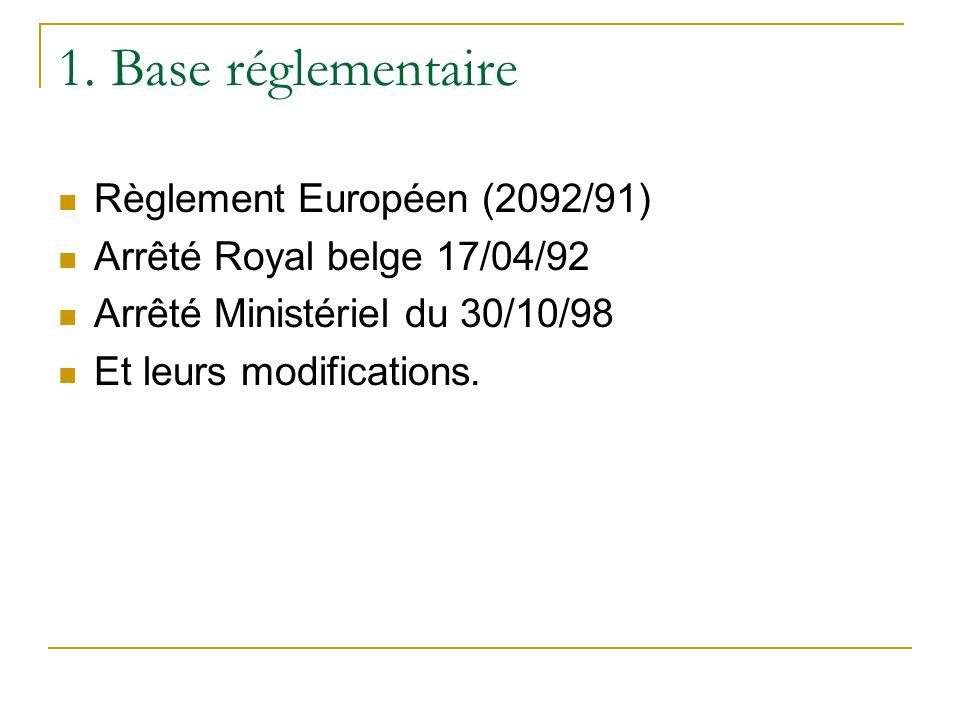 1. Base réglementaire Règlement Européen (2092/91)