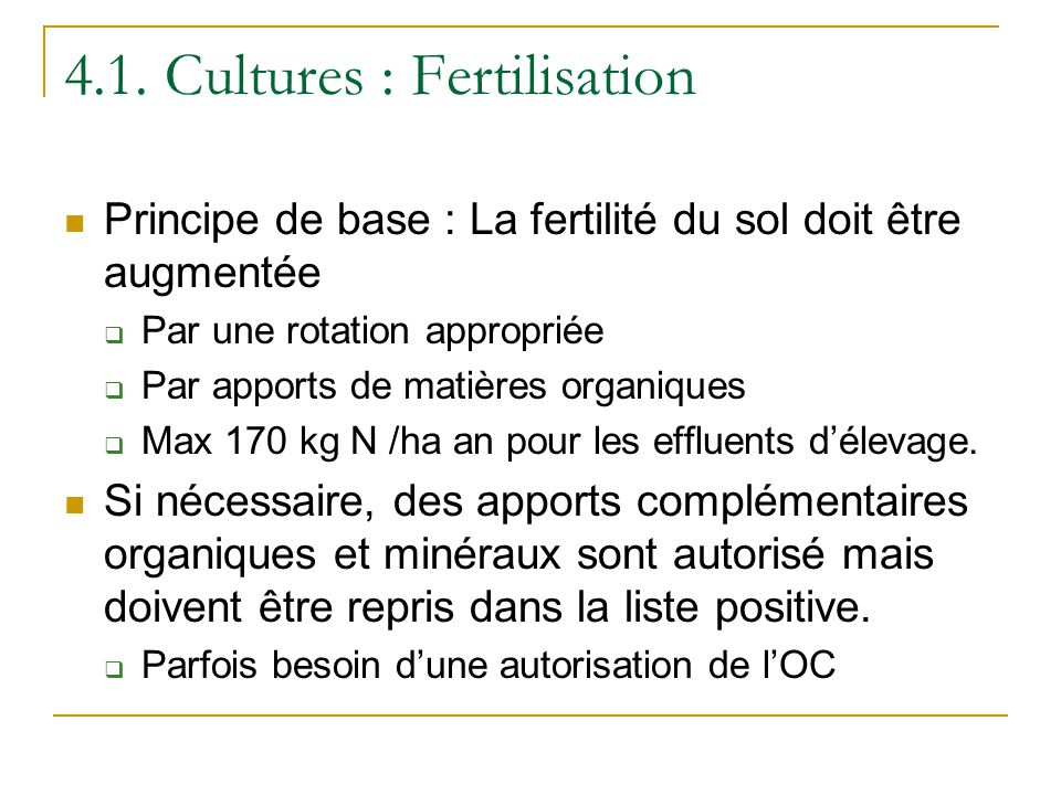 4.1. Cultures : Fertilisation