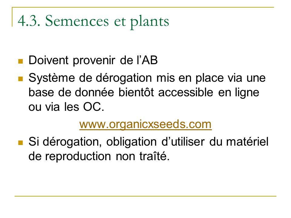 4.3. Semences et plants Doivent provenir de l'AB