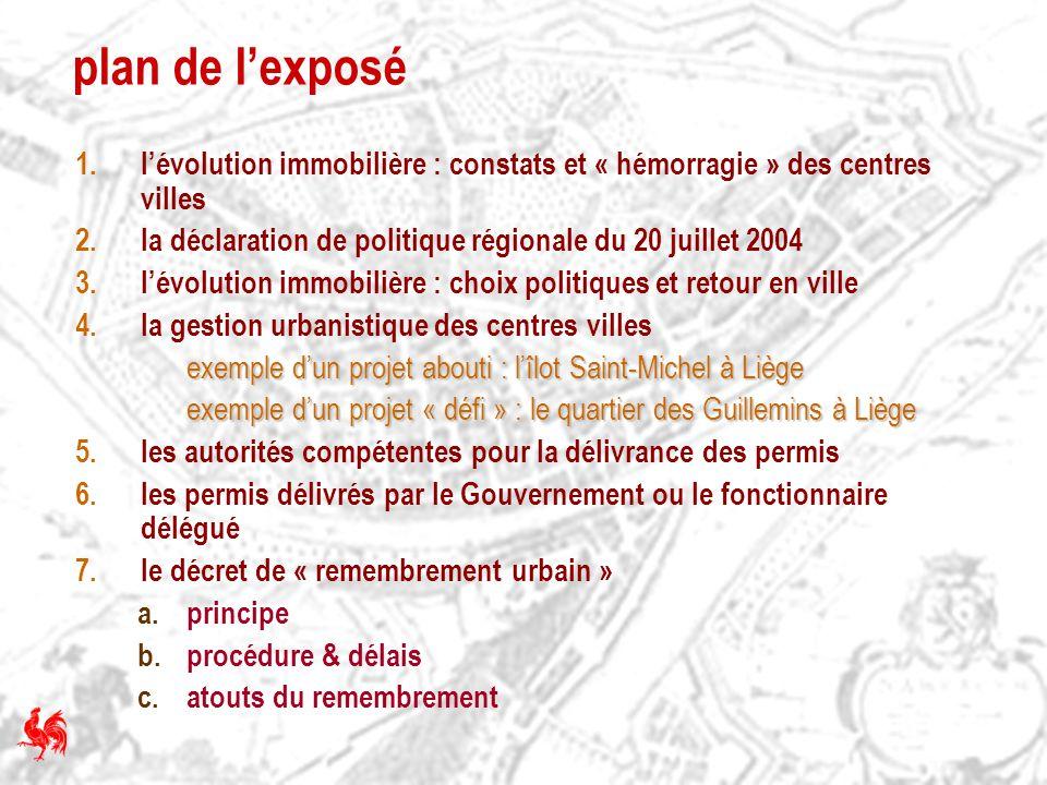 plan de l'exposé l'évolution immobilière : constats et « hémorragie » des centres villes. la déclaration de politique régionale du 20 juillet 2004.