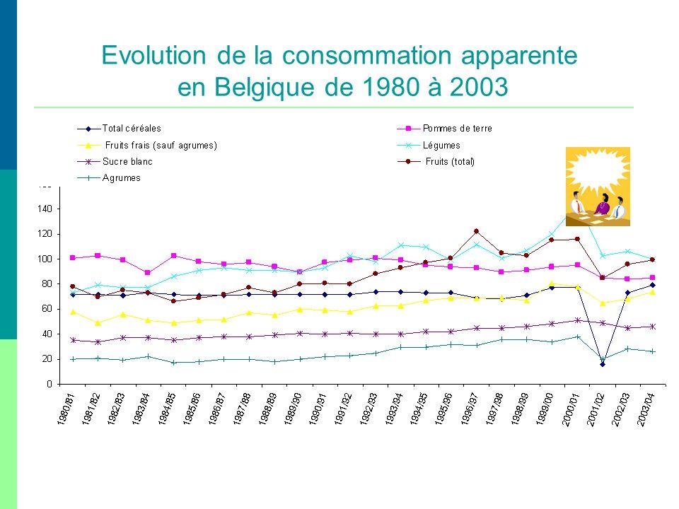 Evolution de la consommation apparente en Belgique de 1980 à 2003