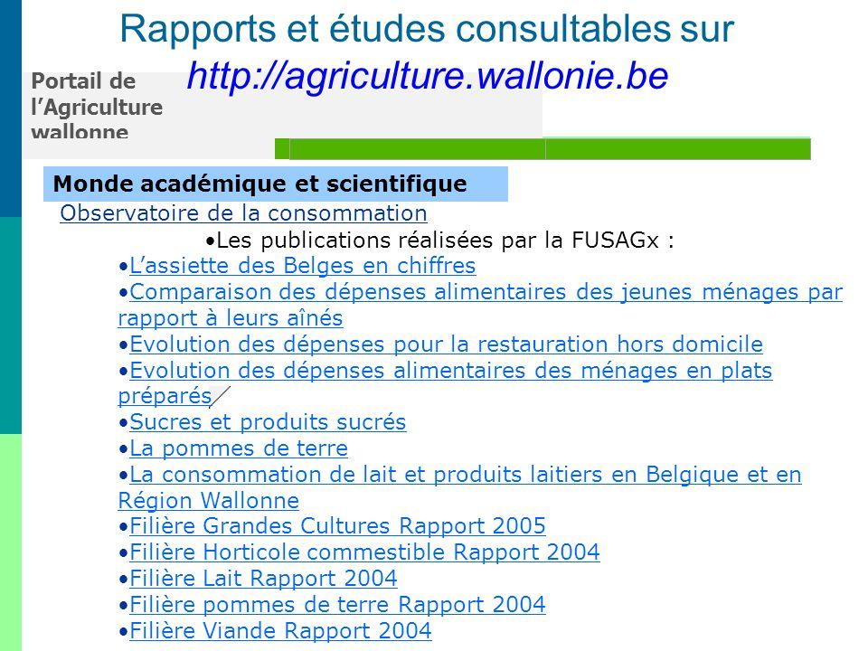 Rapports et études consultables sur
