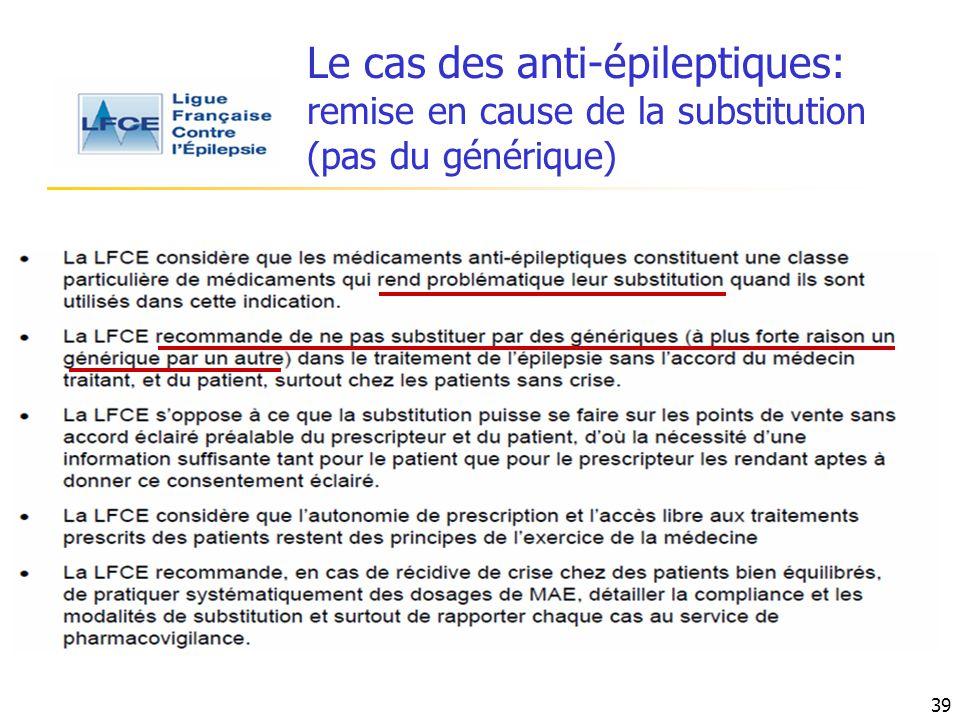 Le cas des anti-épileptiques: remise en cause de la substitution (pas du générique)