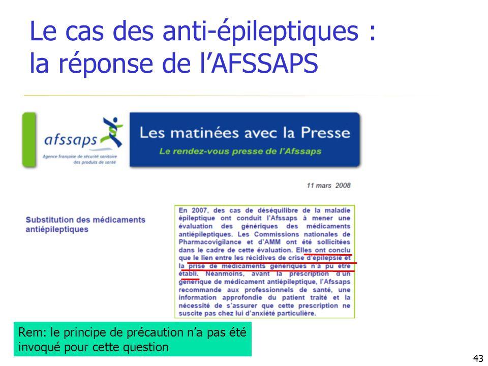 Le cas des anti-épileptiques : la réponse de l'AFSSAPS