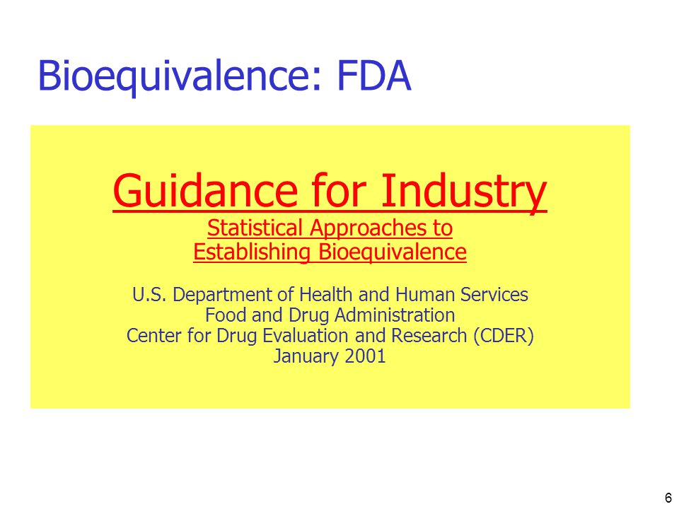 Guidance for Industry Bioequivalence: FDA Statistical Approaches to