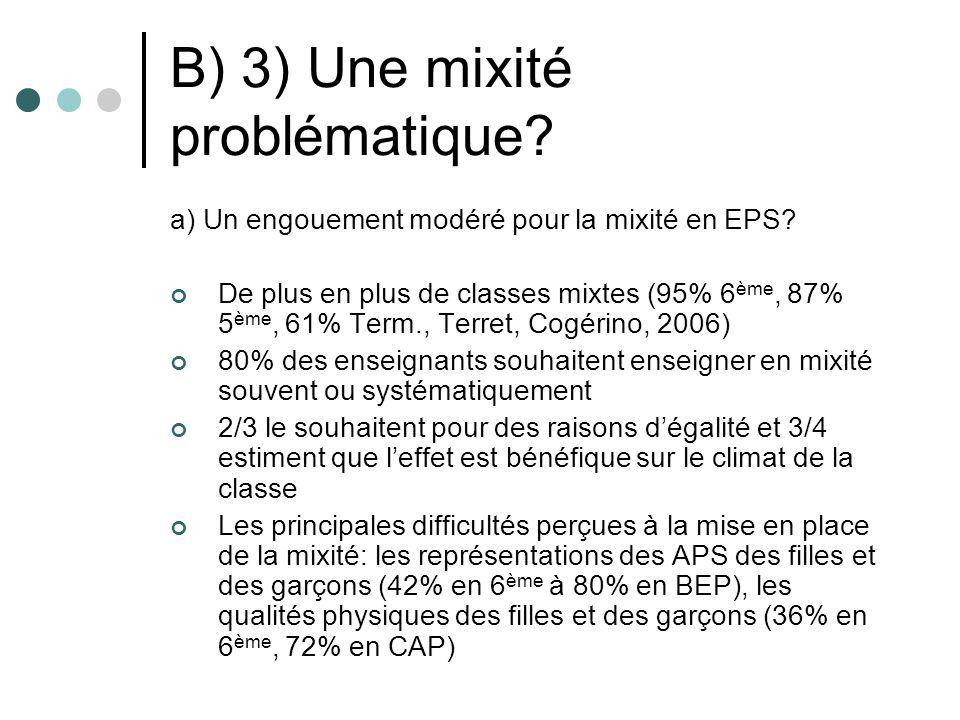 B) 3) Une mixité problématique