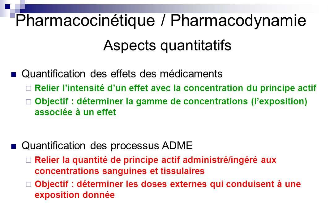 Pharmacocinétique / Pharmacodynamie