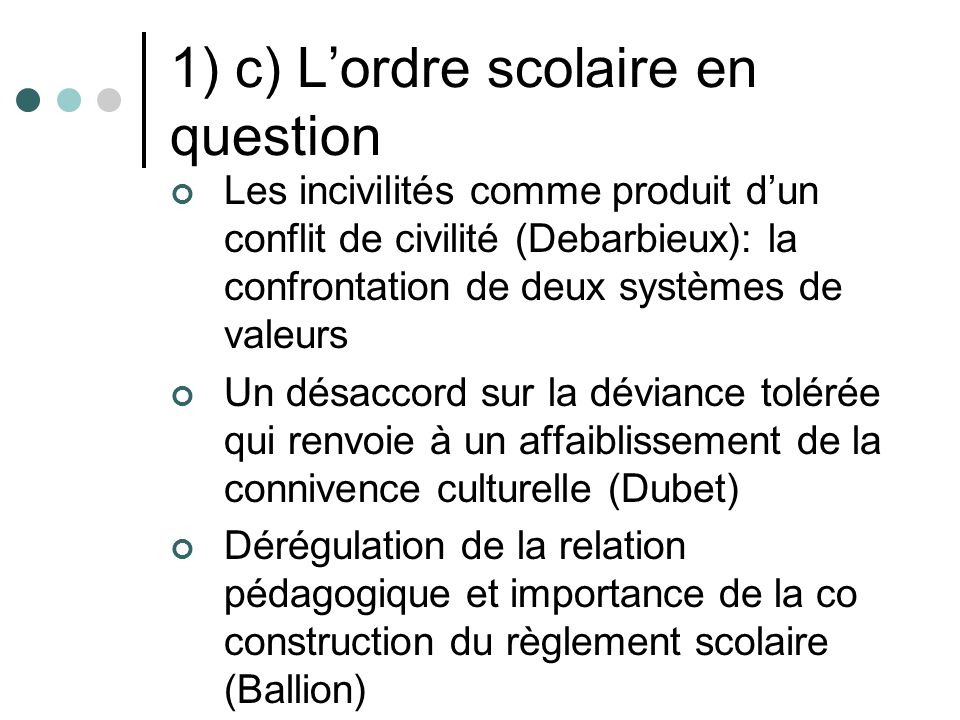 1) c) L'ordre scolaire en question
