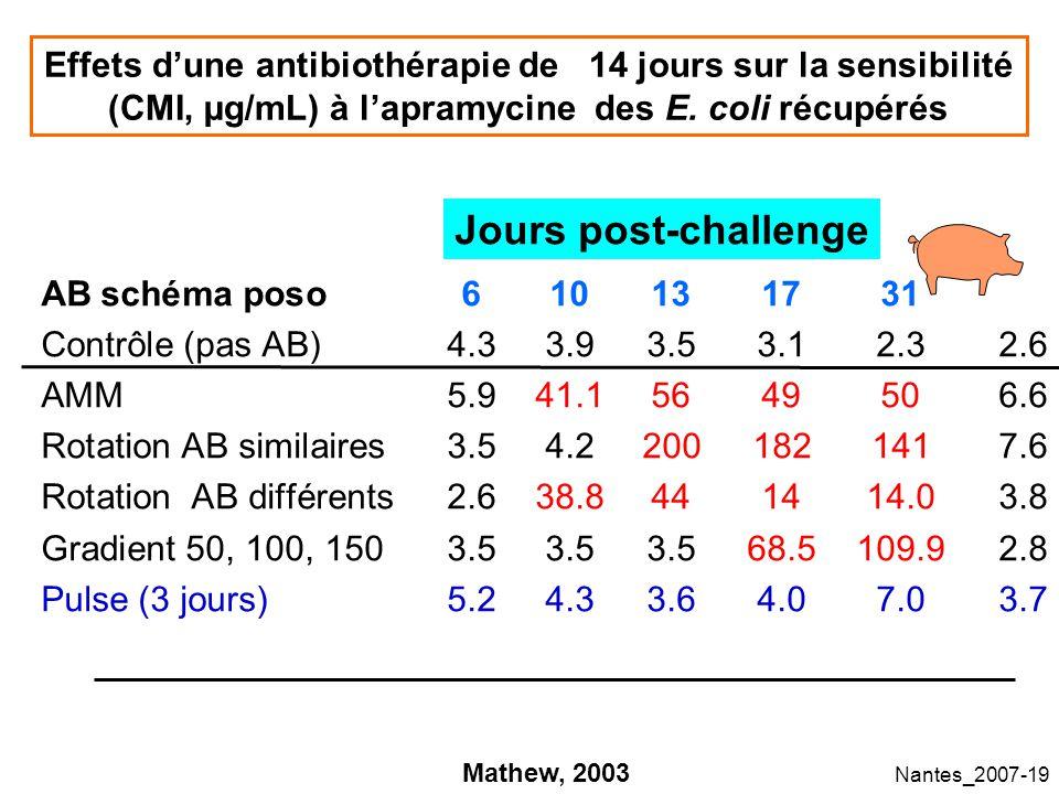 Effets d'une antibiothérapie de 14 jours sur la sensibilité (CMI, µg/mL) à l'apramycine des E. coli récupérés