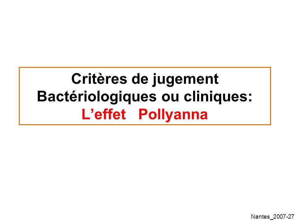 Critères de jugement Bactériologiques ou cliniques: L'effet Pollyanna