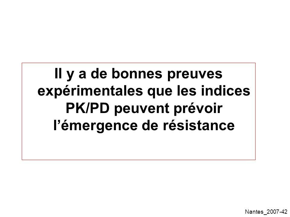 Il y a de bonnes preuves expérimentales que les indices PK/PD peuvent prévoir l'émergence de résistance