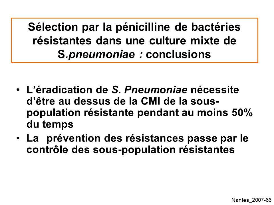Sélection par la pénicilline de bactéries résistantes dans une culture mixte de S.pneumoniae : conclusions