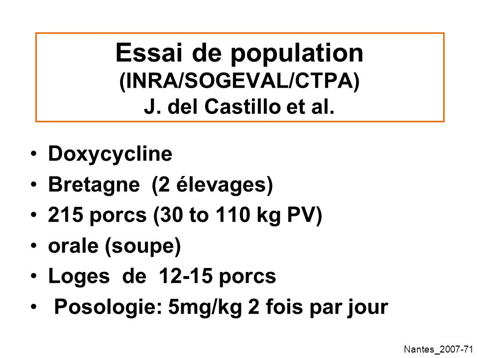 Essai de population (INRA/SOGEVAL/CTPA) J. del Castillo et al.