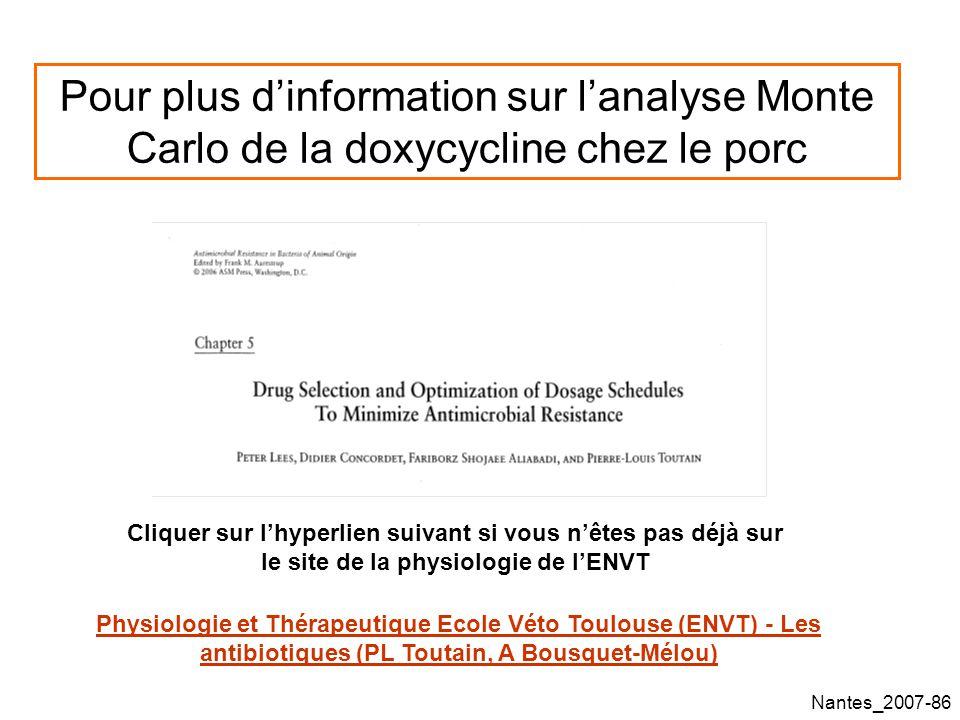 Pour plus d'information sur l'analyse Monte Carlo de la doxycycline chez le porc