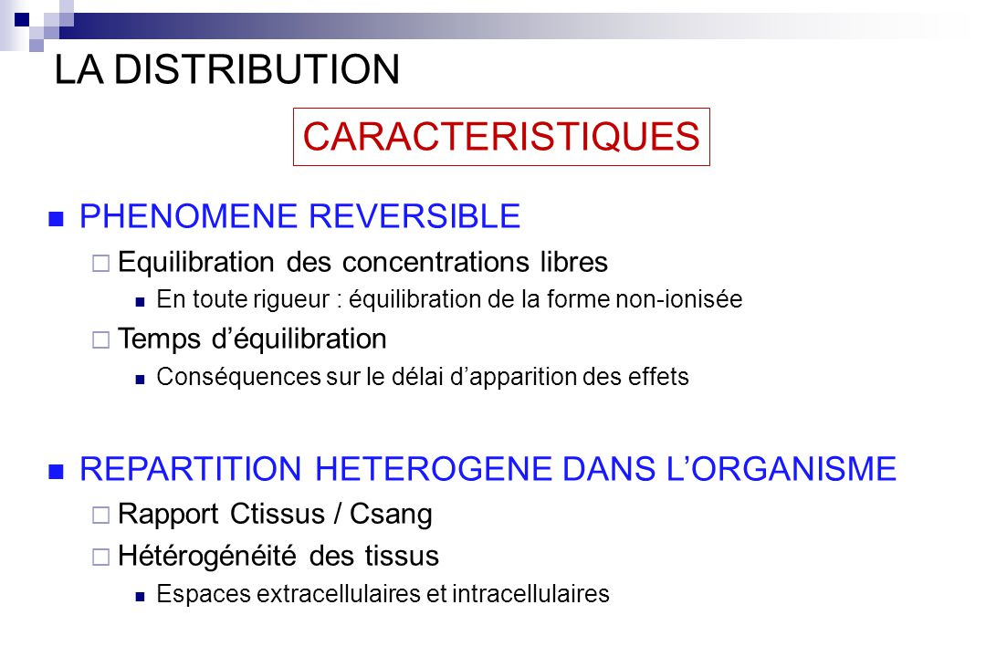 LA DISTRIBUTION CARACTERISTIQUES PHENOMENE REVERSIBLE