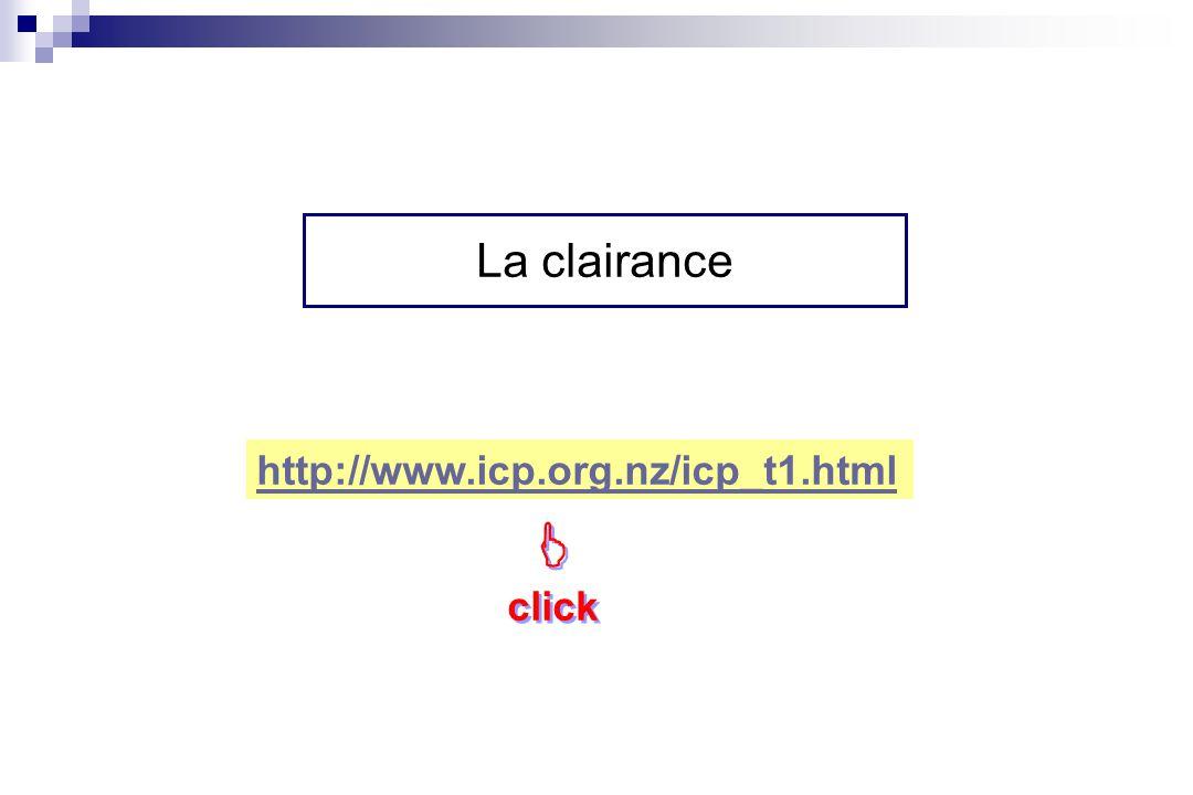 La clairance http://www.icp.org.nz/icp_t1.html  click