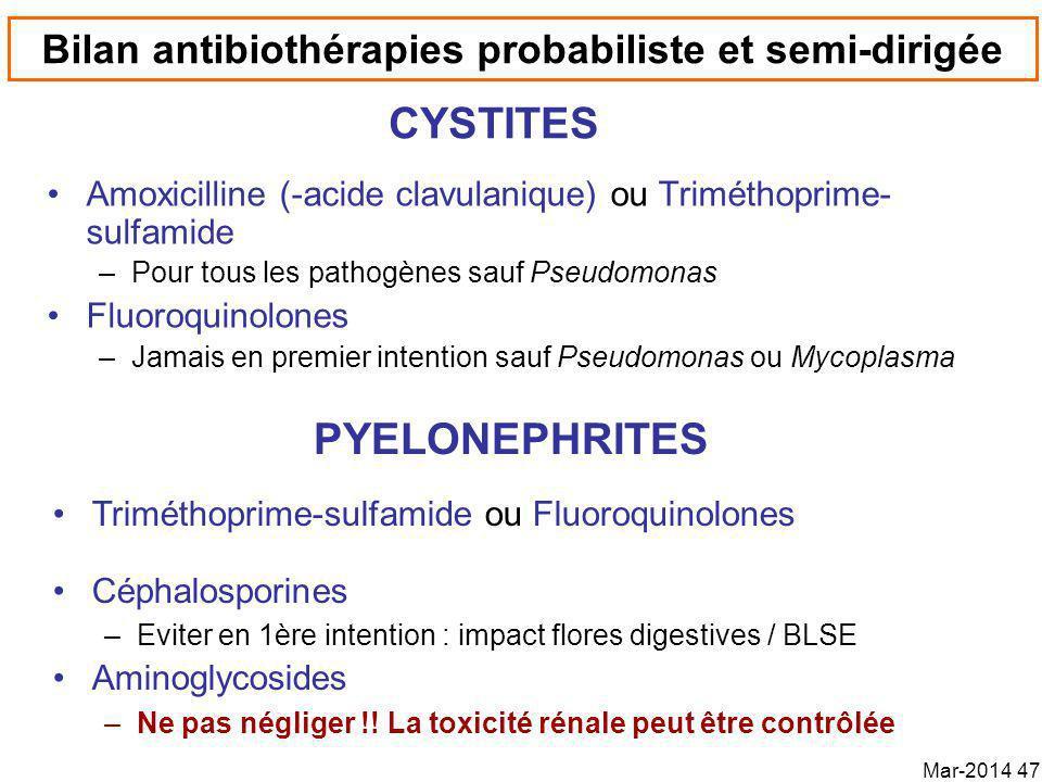 Bilan antibiothérapies probabiliste et semi-dirigée