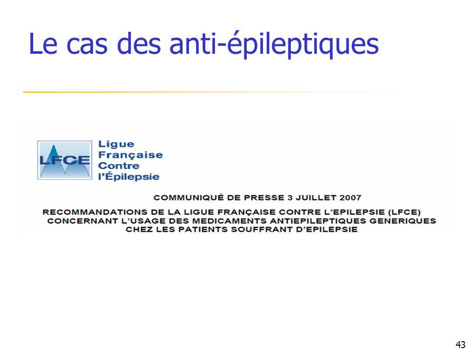 Le cas des anti-épileptiques