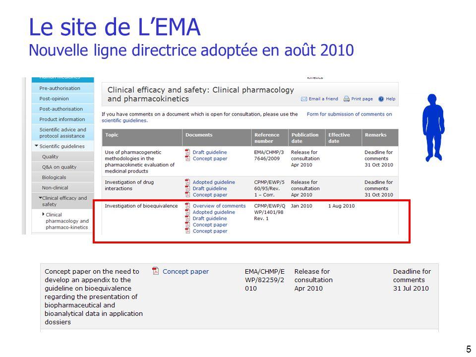 Le site de L'EMA Nouvelle ligne directrice adoptée en août 2010