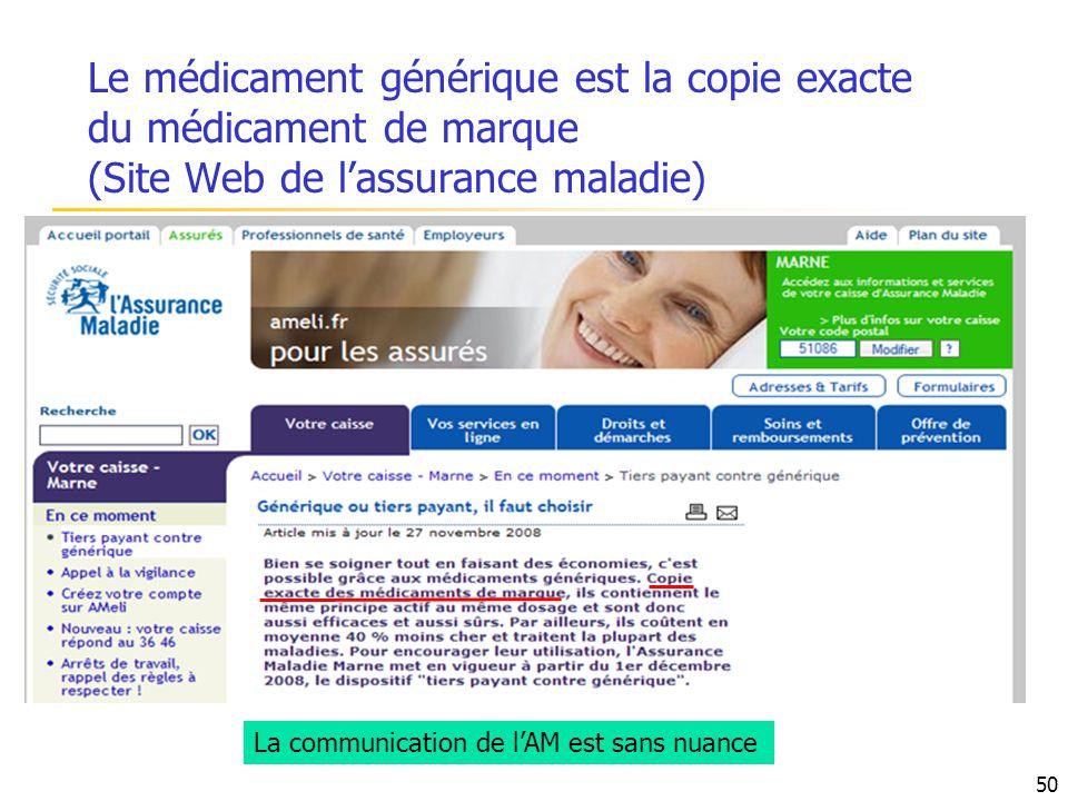 Le médicament générique est la copie exacte du médicament de marque (Site Web de l'assurance maladie)