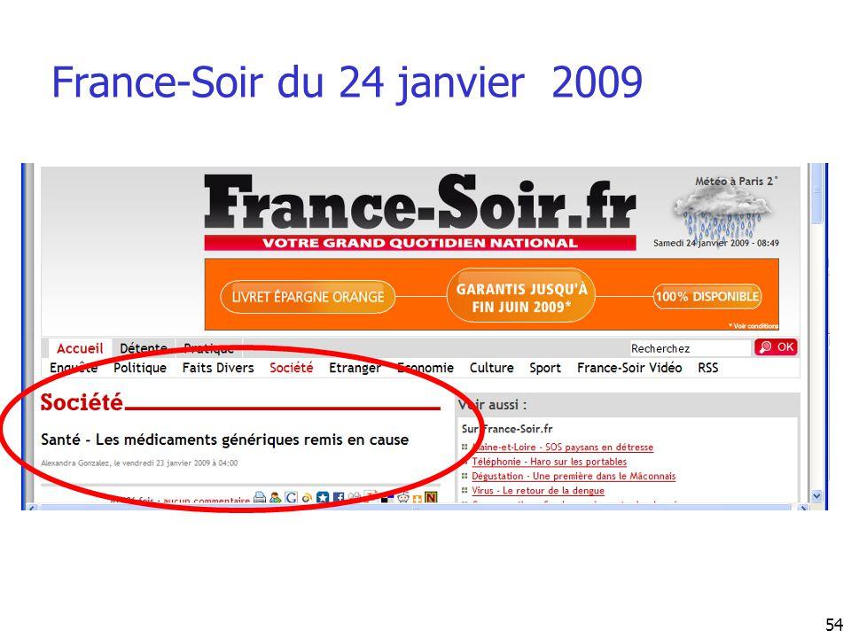 France-Soir du 24 janvier 2009