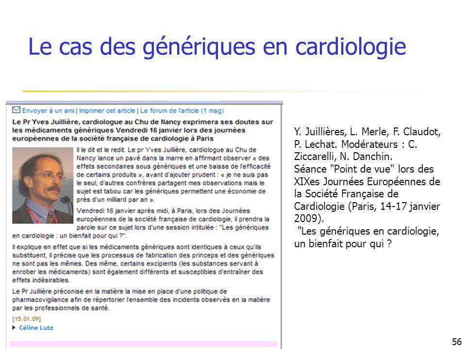 Le cas des génériques en cardiologie