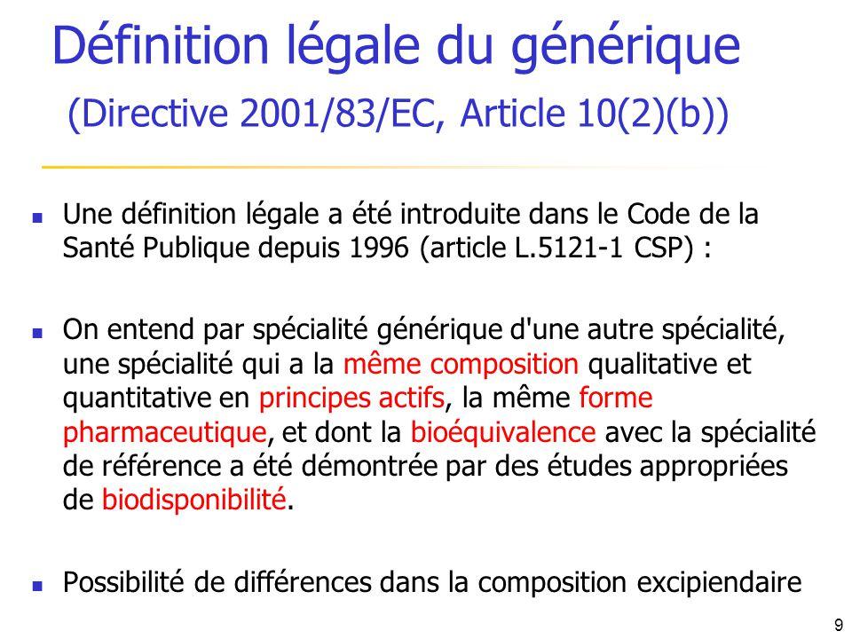 Définition légale du générique (Directive 2001/83/EC, Article 10(2)(b))