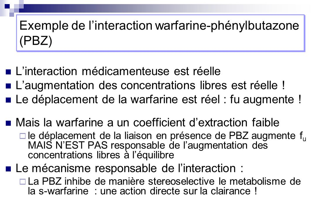Exemple de l'interaction warfarine-phénylbutazone (PBZ)