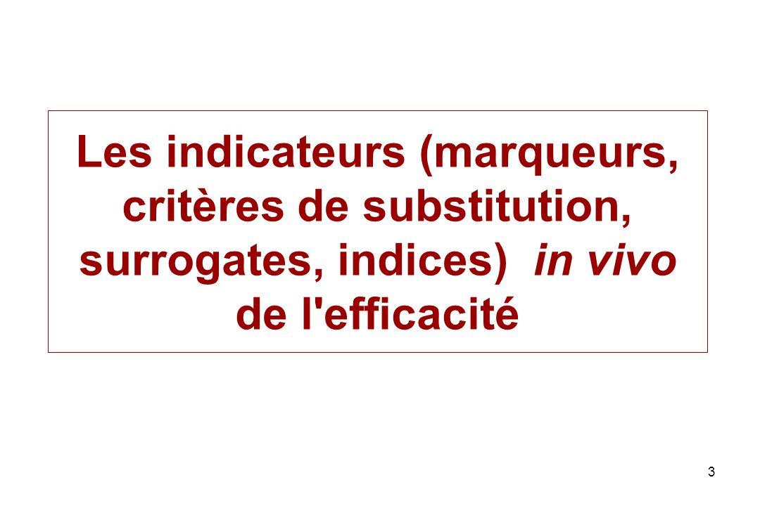 Les indicateurs (marqueurs, critères de substitution, surrogates, indices) in vivo de l efficacité