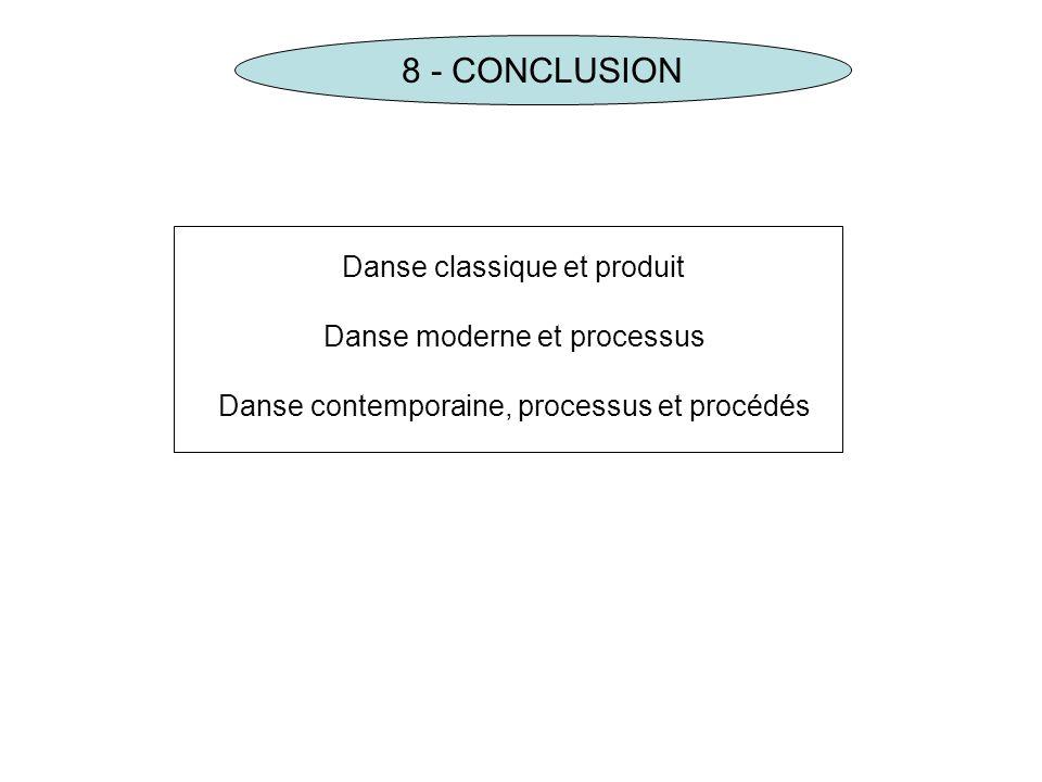 8 - CONCLUSION Danse classique et produit Danse moderne et processus