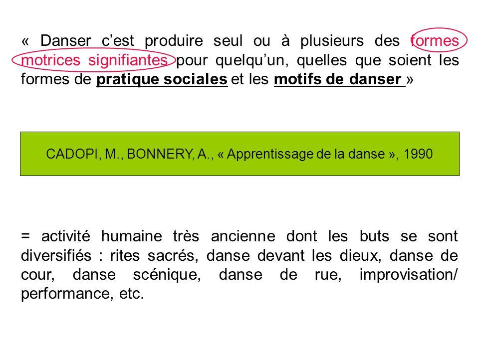 CADOPI, M., BONNERY, A., « Apprentissage de la danse », 1990