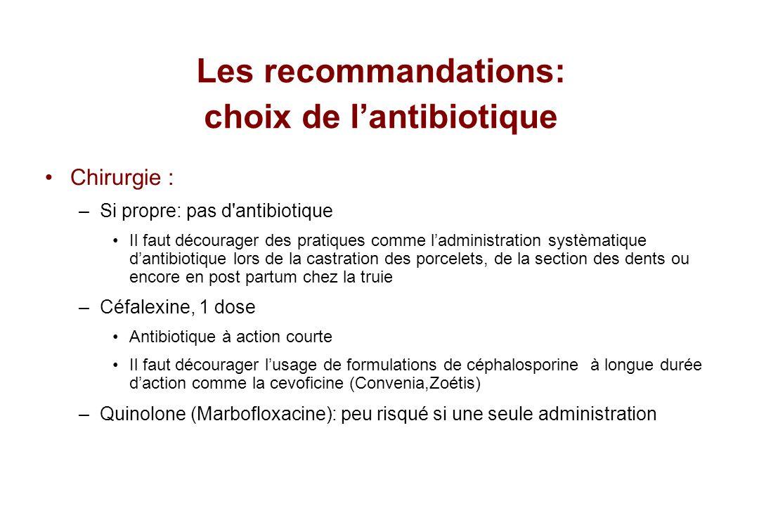 Les recommandations: choix de l'antibiotique