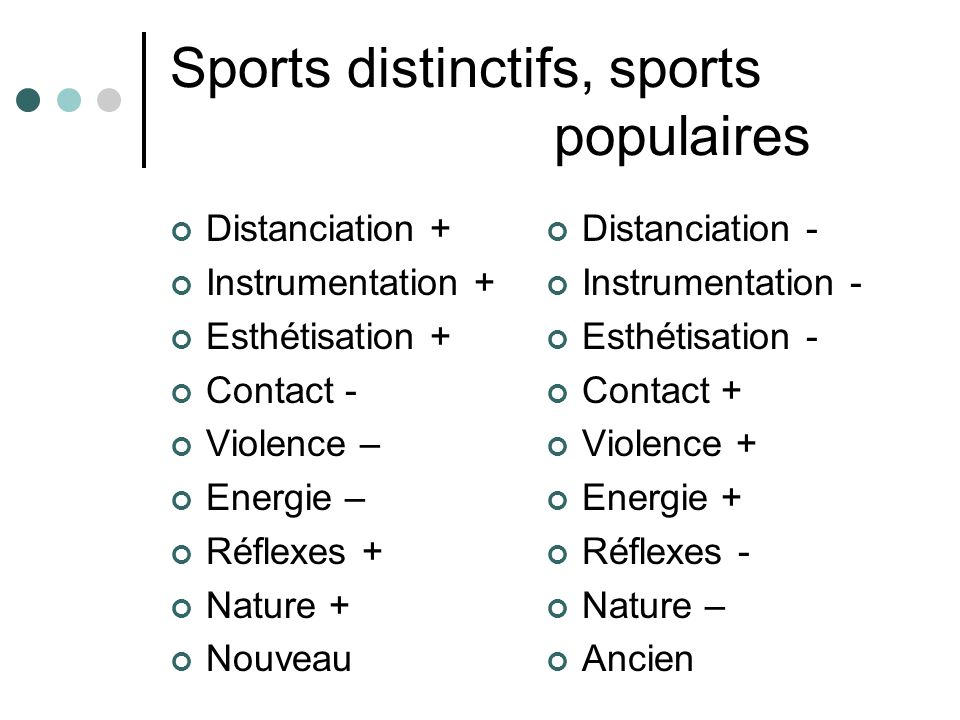 Sports distinctifs, sports populaires