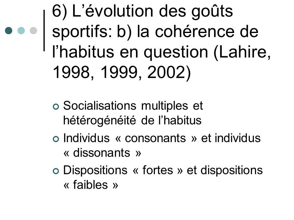 6) L'évolution des goûts sportifs: b) la cohérence de l'habitus en question (Lahire, 1998, 1999, 2002)