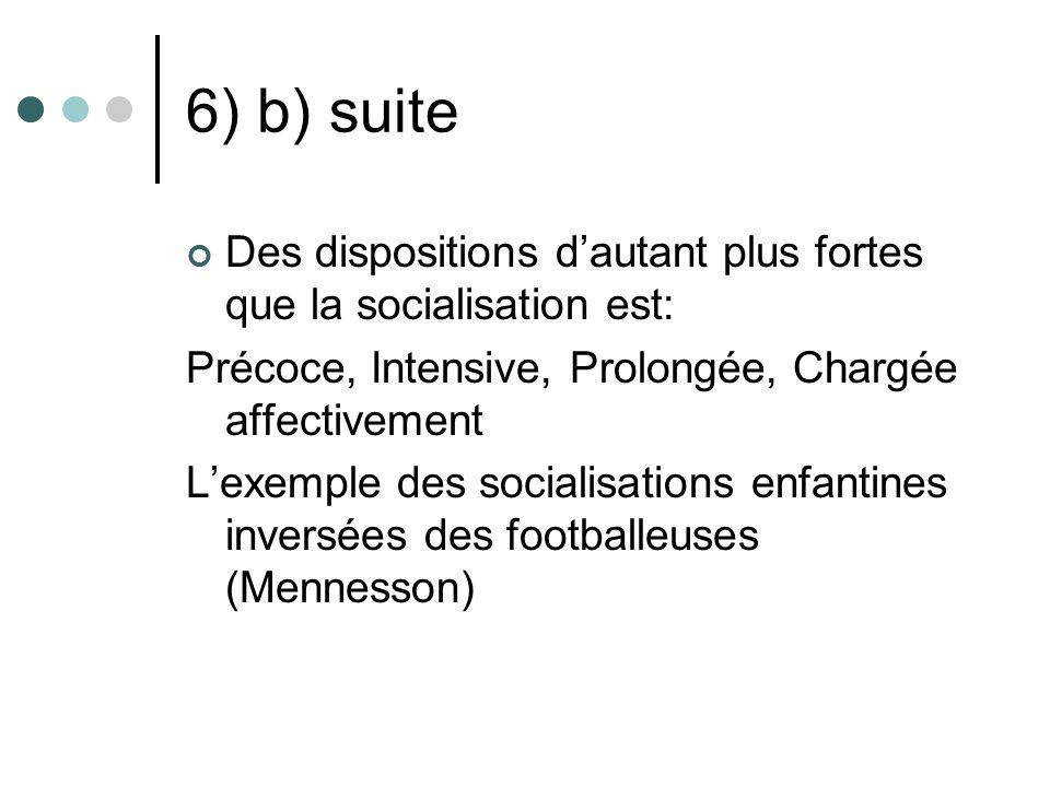 6) b) suite Des dispositions d'autant plus fortes que la socialisation est: Précoce, Intensive, Prolongée, Chargée affectivement.