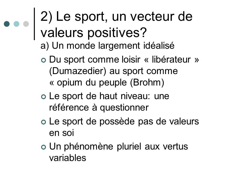 2) Le sport, un vecteur de valeurs positives