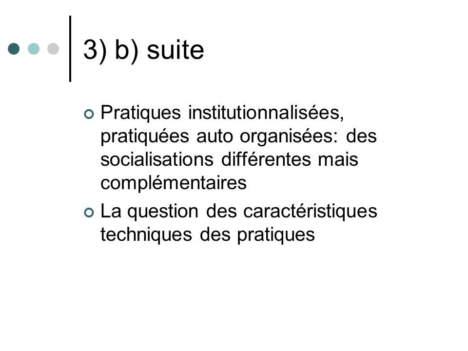 3) b) suite Pratiques institutionnalisées, pratiquées auto organisées: des socialisations différentes mais complémentaires.