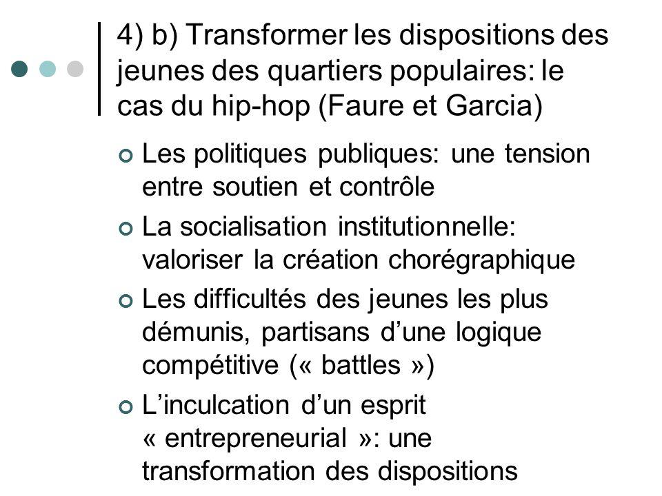 4) b) Transformer les dispositions des jeunes des quartiers populaires: le cas du hip-hop (Faure et Garcia)