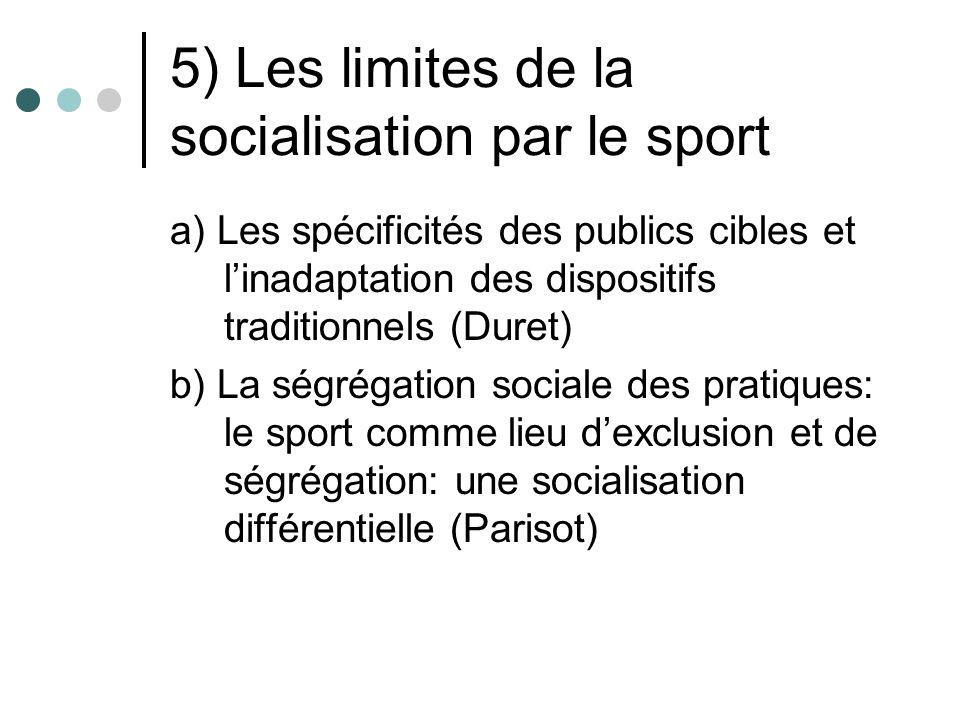 5) Les limites de la socialisation par le sport