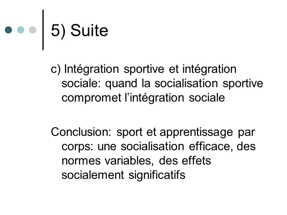 5) Suite c) Intégration sportive et intégration sociale: quand la socialisation sportive compromet l'intégration sociale.